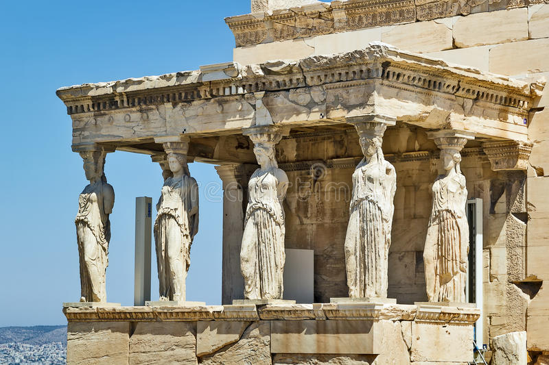 Erechtheion, Athens. The Erechtheion is an ancient Greek temple on the north side of the Acropolis of Athens in Greece which was dedicated to both Athena and royalty free stock photos