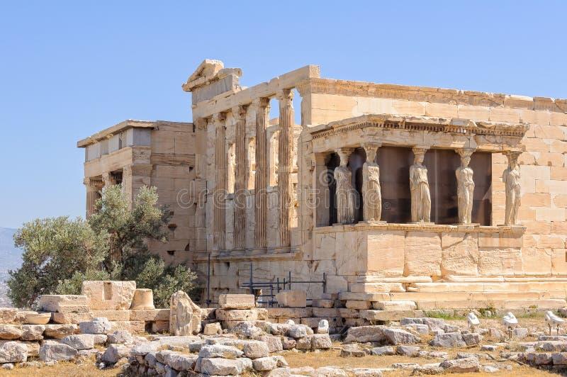 Erechtheion e cariátides - Atenas fotos de stock