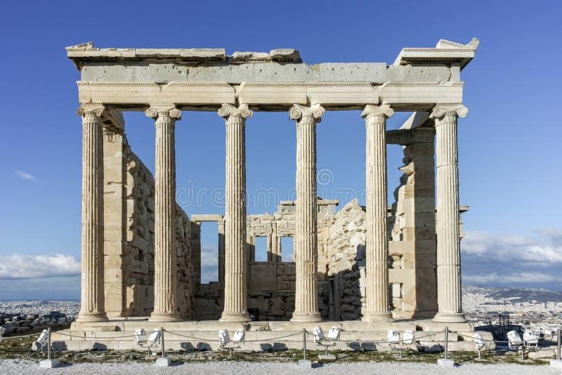 Erechtheion een oude Griekse tempel aan de het noordenkant van de Akropolis van Athene royalty-vrije stock fotografie
