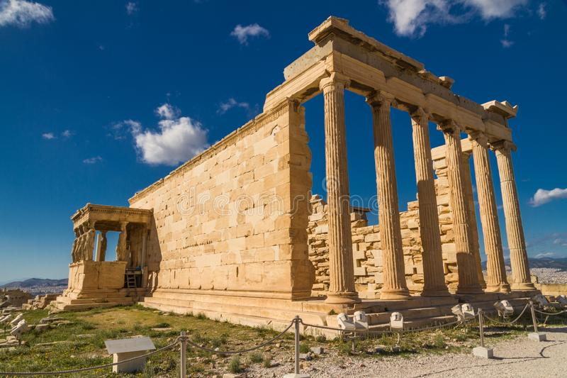 Erechtheion Temple with porch of the caryatids at the Acropolis in Athens royalty free stock photos