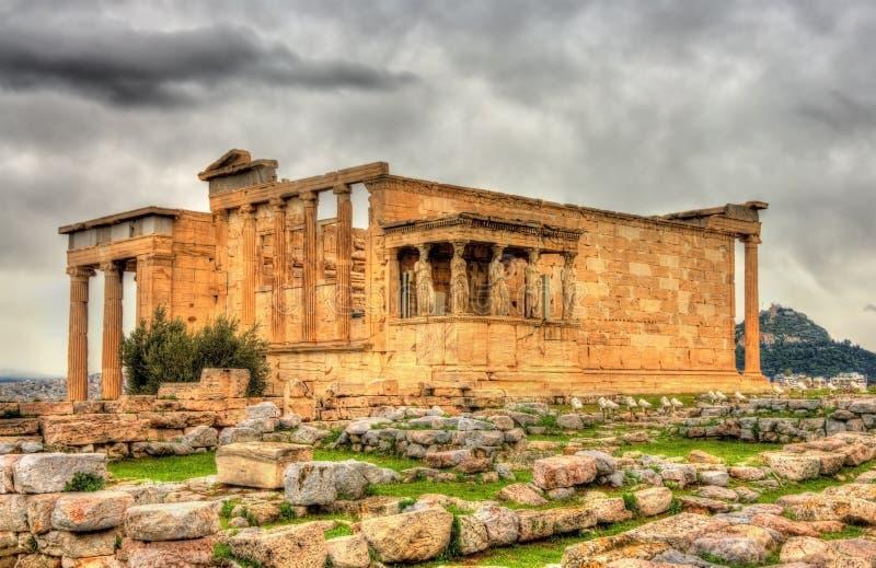 Erechtheion, um templo do grego clássico imagem de stock