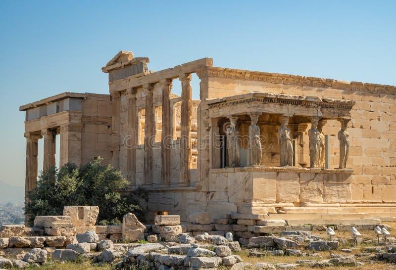 Erechtheion - um templo do grego clássico com um pórtico e as seis cariátides, construídos em honra de Atenas e de Poseidon, Gréc imagem de stock