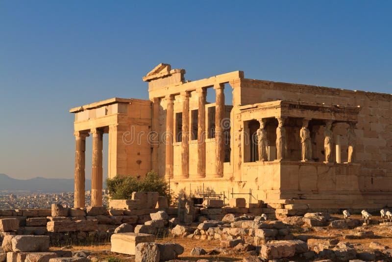 Erechtheum в акрополе, Афинах стоковое изображение rf