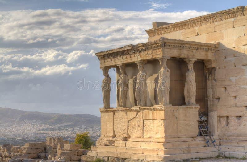 erechtheum Греция caryatids athens акрополя стоковое изображение rf