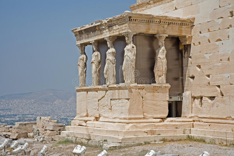 Erechtheum on the Acropolis, athens. The Porch of the Caryatids (six maidens), part of the Erchtheum on the Acropolis in Athens, Greece stock photos