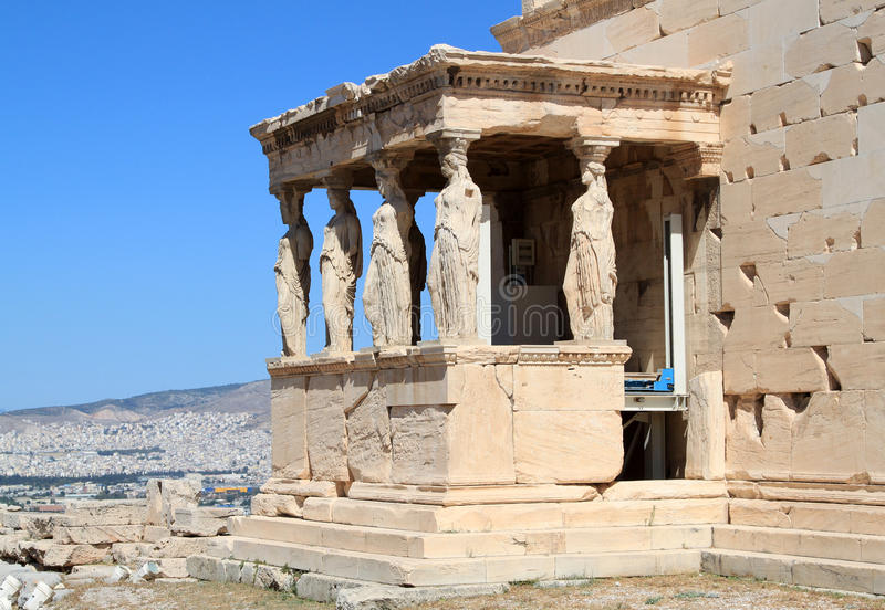 Erechtheum of Acropolis. The Caryatids female statues with veils in the Erechteion temple ruins, Acropolis, Athens, Greece stock photography