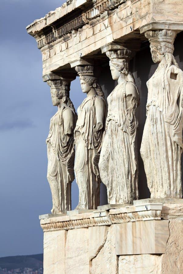 Erechtheum is een oude Griekse tempel in Akropolis stock fotografie