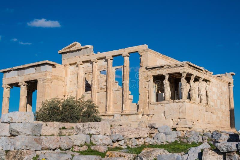 Erechtheum lub Erechtheion jesteśmy starożytnego grka świątynią na północnej stronie akropol Ateny w Grecja obrazy stock