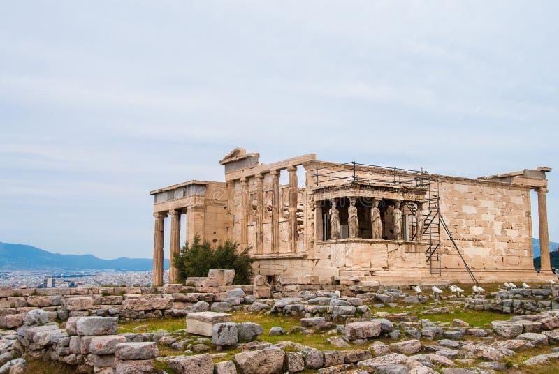 Erechtheum na akropolu w Ateny Grecja lub Erechtheion obraz stock