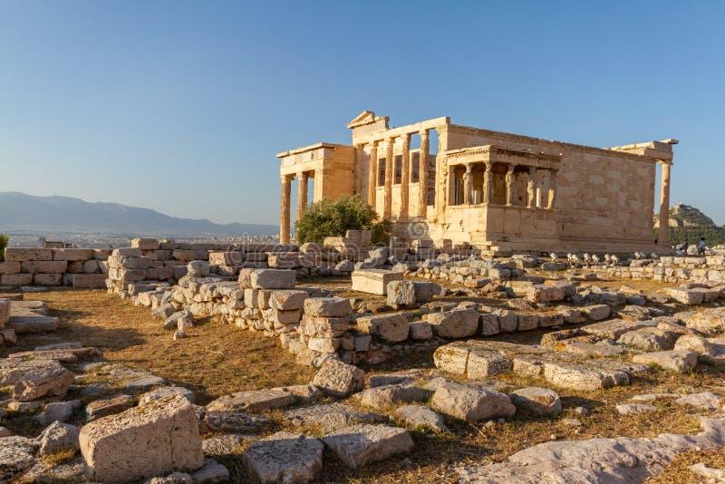 Erechtheum-Tempelruinen auf der Akropolise in Athen, Griechenland stockbilder