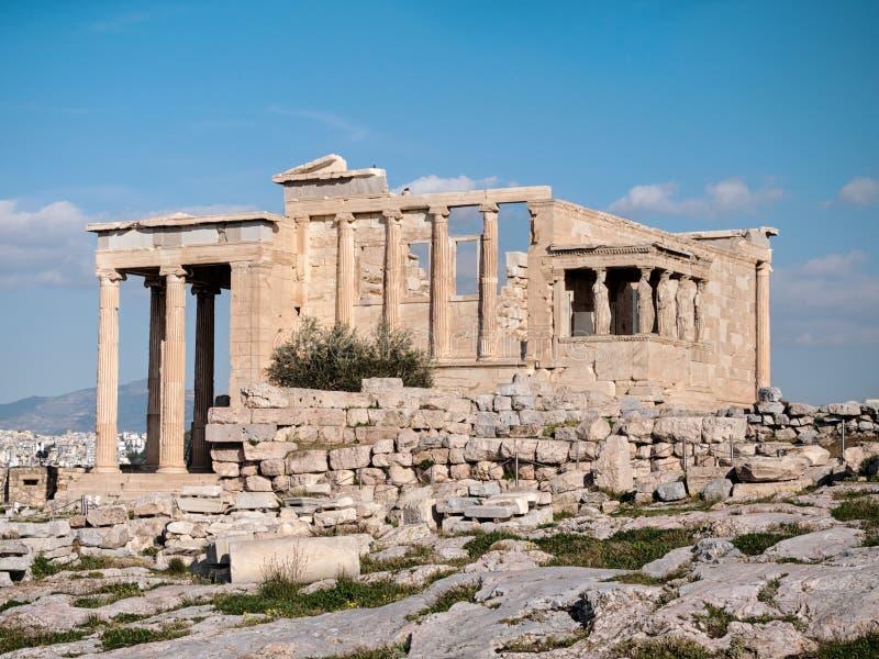 Erechtheum z kariatydami w akropolu zdjęcia stock