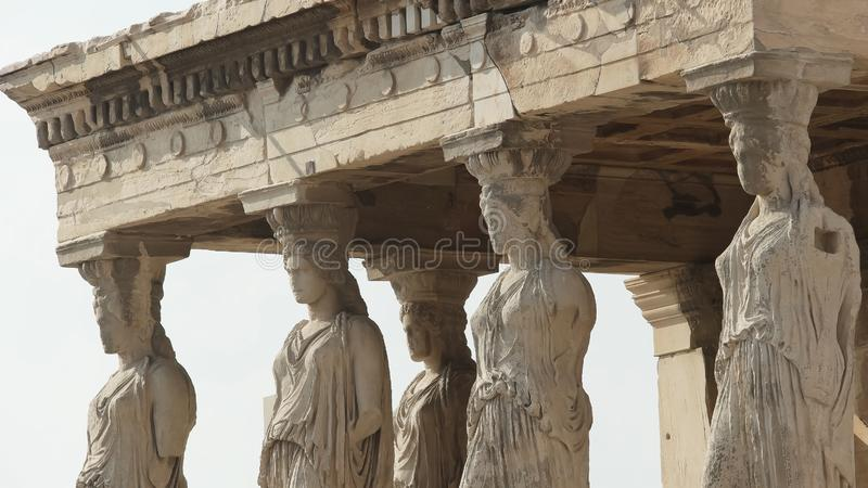 Erechthion caryatids at the acropolis in athens, greece royalty free stock images
