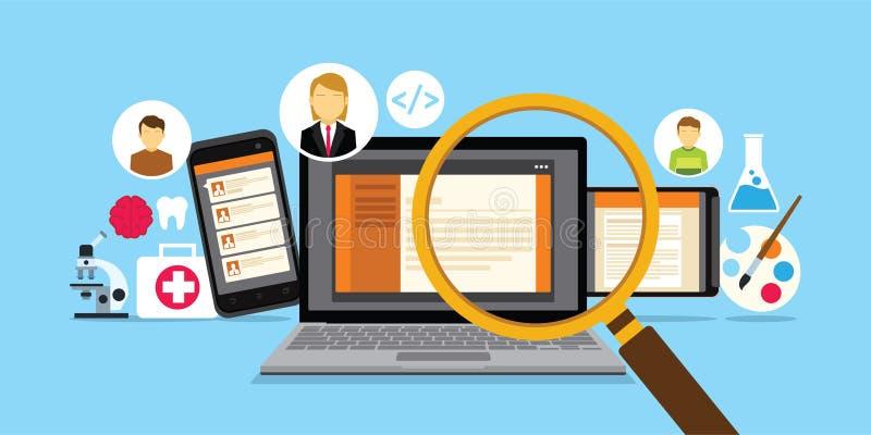 Erecruitment websiter voor online werknemersonderzoek stock fotografie
