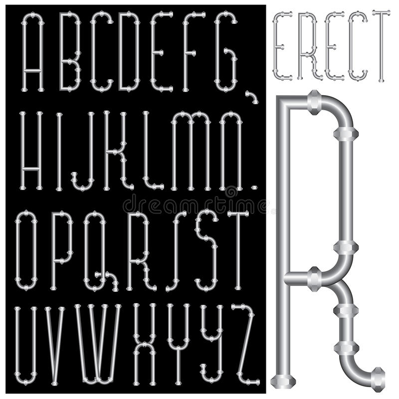 Erect font. Vector original font with pipes royalty free illustration