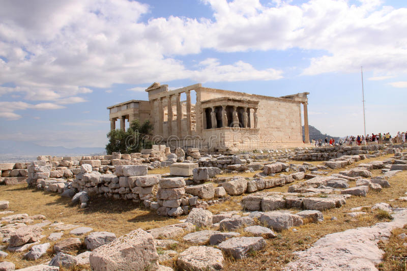 The Erecthion at the Acropolis of Athens royalty free stock image