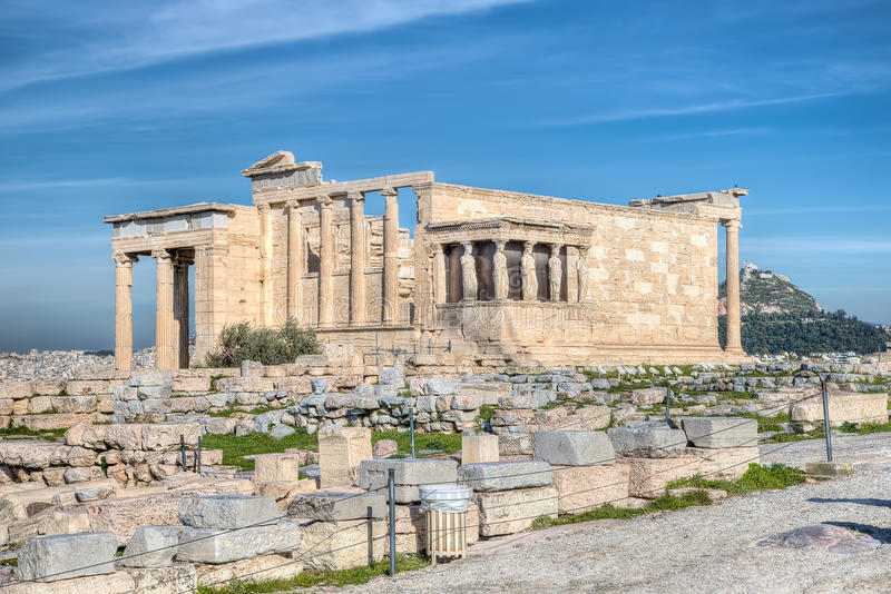 Erecthion, Athene stock afbeeldingen