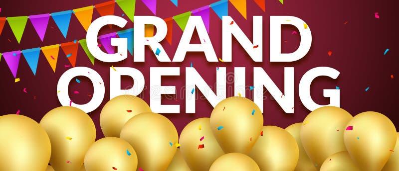 Ereignis-Einladungsfahne der festlichen Eröffnung mit goldenen Ballonen und Konfettis Plakat-Schablonendesign der festlichen Eröf lizenzfreie abbildung