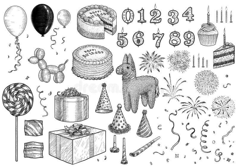 Ereignis, Geburtstag, Feier, Parteisammlung, Illustration, Zeichnung, Stich, Tinte, Linie Kunst, Vektor lizenzfreie abbildung