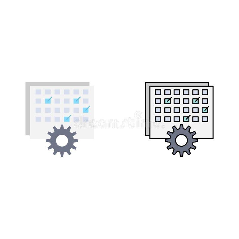 Ereignis, Management, verarbeitend, Zeitplan, TIMING flacher Farbikonen-Vektor lizenzfreie abbildung