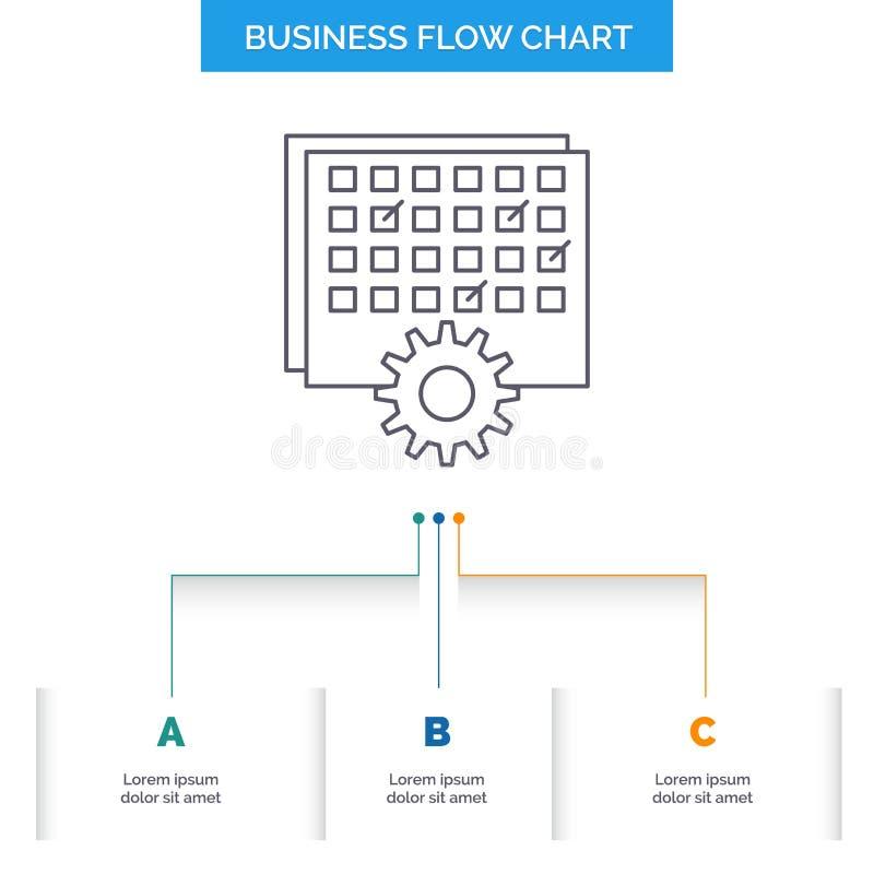 Ereignis, Management, verarbeitend, Zeitplan, TIMING Geschäfts-Flussdiagramm-Entwurf mit 3 Schritten Linie Ikone f?r Darstellungs vektor abbildung
