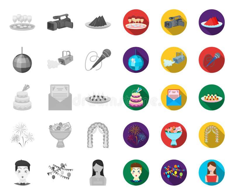 Ereignis-Organisation mono, flache Ikonen in gesetzter Sammlung für Entwurf Feier- und Attributvektorsymbol-Vorratnetz lizenzfreie abbildung