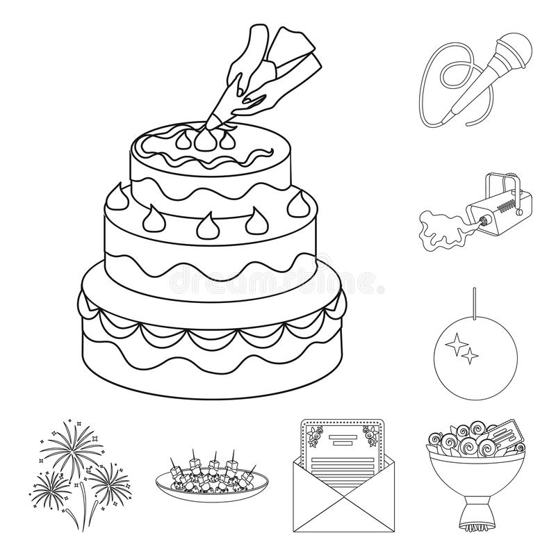 Ereignis-Organisationsentwurfsikonen in der Satzsammlung für Design Feier- und Attributvektorsymbol-Vorratnetz vektor abbildung
