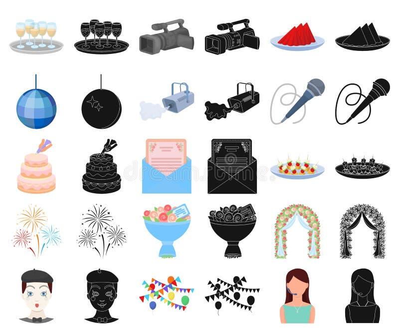 Ereignis-Organisationskarikatur, schwarze Ikonen in gesetzter Sammlung für Entwurf Feier- und Attributvektorsymbol-Vorratnetz stock abbildung