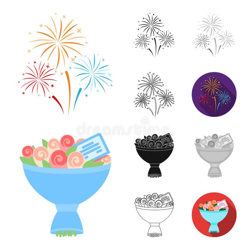 Ereignis-Organisationskarikatur, Schwarzes, flach, einfarbig, Entwurfsikonen in der Satzsammlung für Design Feier und Attribute vektor abbildung