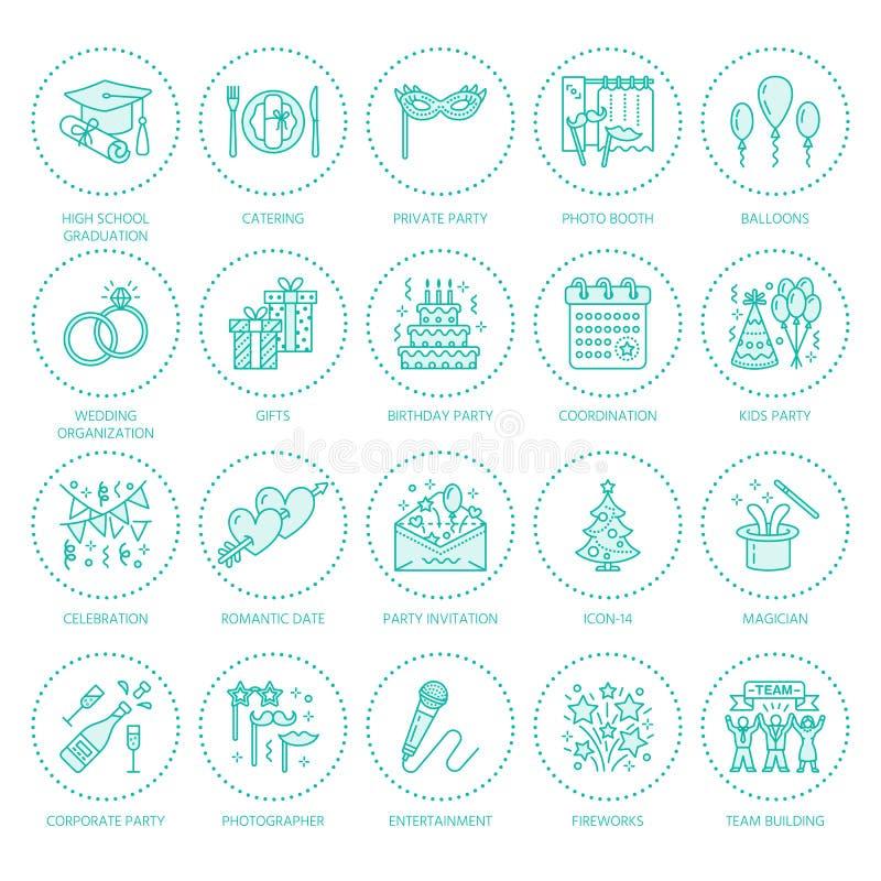 Ereignisagentur, Heiratsorganisationsvektorlinie Ikone Parteiservice - Verpflegung, Geburtstagskuchen, Ballondekoration, Blume vektor abbildung
