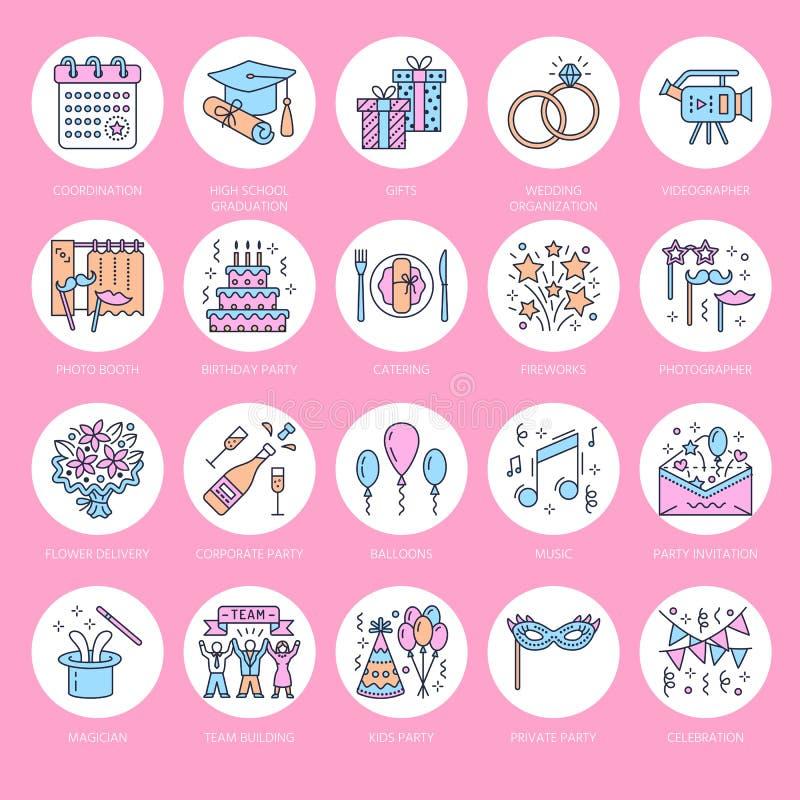 Ereignisagenturhochzeitsorganisations-Vektorlinie Ikone Parteiservice - Verpflegung, Geburtstagskuchen, Ballondekoration, Blume stock abbildung