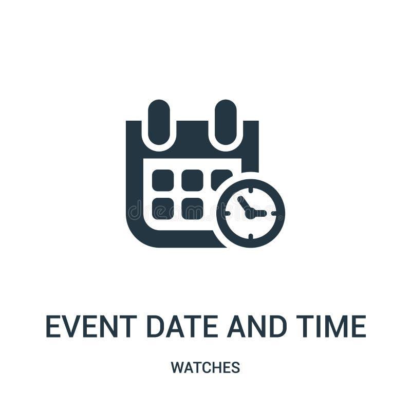 Ereignisdatum und Zeitsymbolikonenvektor von der Uhrsammlung Dünne Linie Ereignisdatum und Zeitsymbolentwurfsikonenvektor vektor abbildung