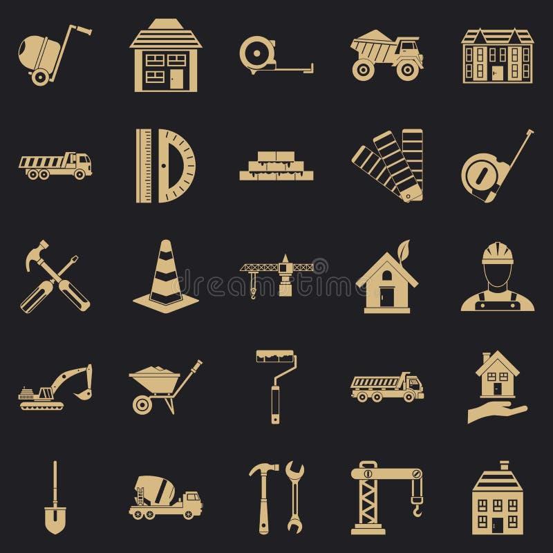 Erekcyjne ikony ustawiać, prosty styl ilustracji
