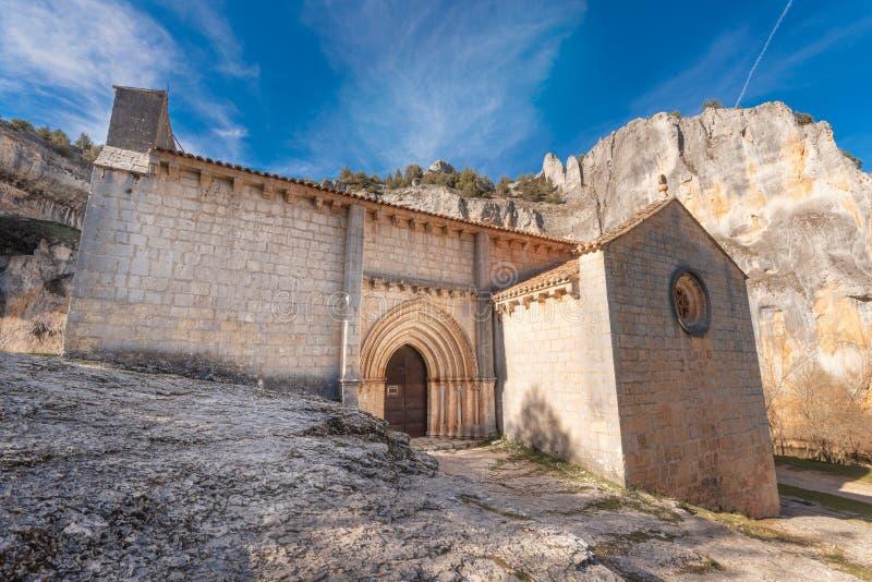Eremitboning av San Bartolome, kanjon av floden Lobos, Soria, Castilla Y Leon, Spanien royaltyfri foto