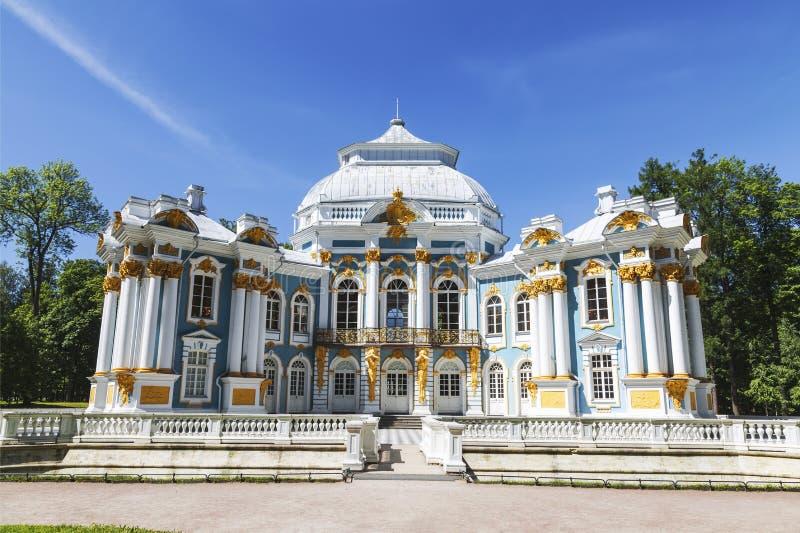 Eremitboningpaviljong i Catherine Park på Tsarskoye Selo Pushkin, St Petersburg arkivfoton