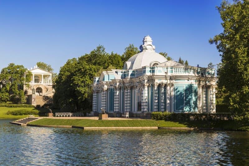 Eremitboningpaviljong och det Cameron gallerit i Catherine Park på Tsarskoye Selo Pushkin, St Petersburg, fotografering för bildbyråer