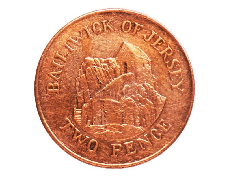 Eremo di penny 2, moneta magnetica, la Banca del Jersey Complemento, edizione 1992 immagini stock