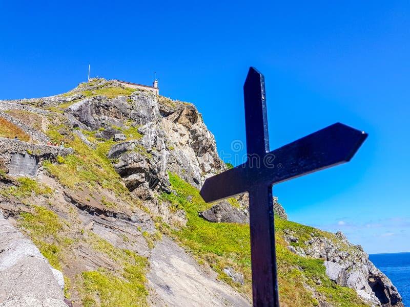 Eremo di San Juan de Gaztelugatxe alla cima dell'isola di Gaztelugatxe E Incrocio visto immagine stock libera da diritti