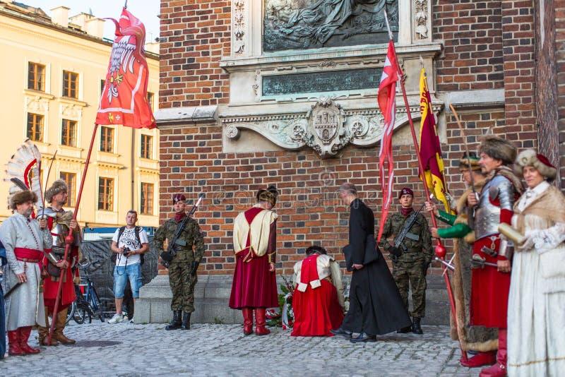 Eremony Ð ¡ is de gelofte van eerste klassen van de III Middelbare school van Januari Sobieski royalty-vrije stock afbeelding