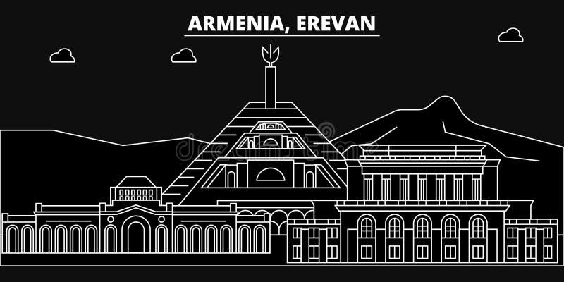 Erevan silhouette skyline. Armenia - Erevan vector city, armenian linear architecture, buildings. Erevan travel vector illustration