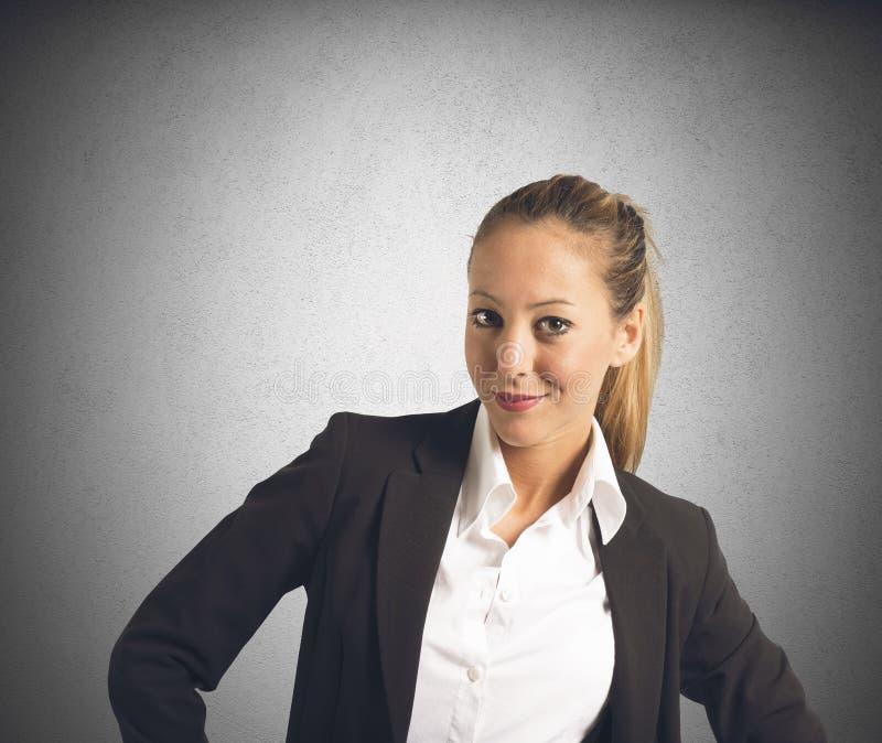 Erfüllte Geschäftsfrau stockbild