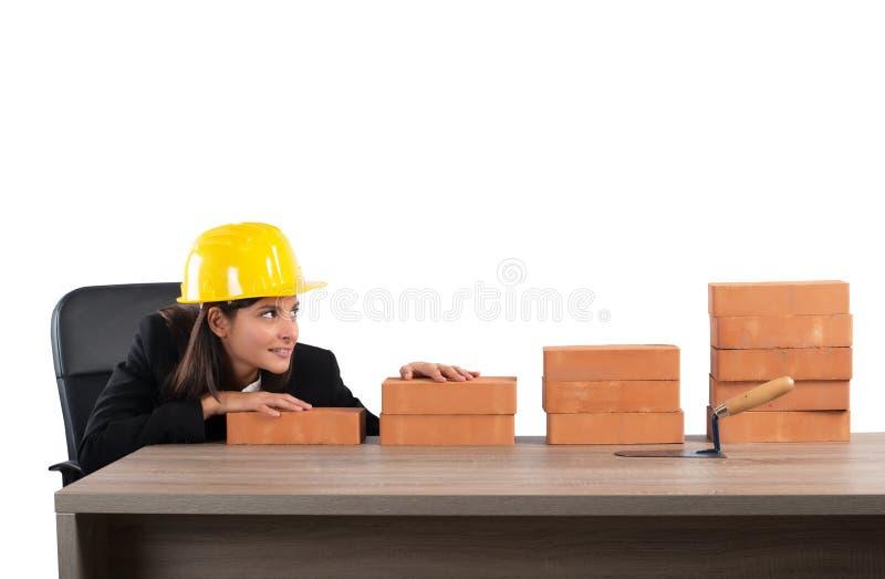 Erf?llter Frauenarchitekt lizenzfreies stockfoto