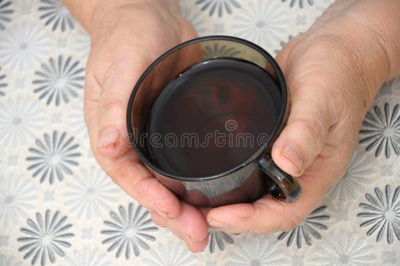 Erfahrene Arbeiter, die Kappe des Tees halten stockfotografie