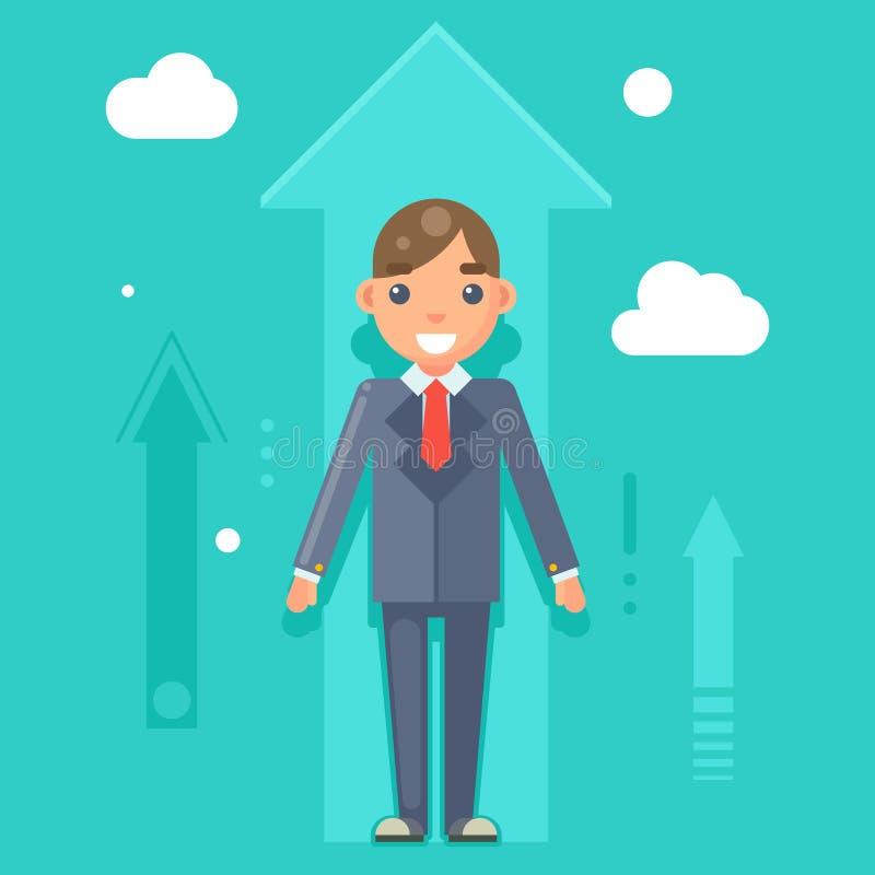Erfahrene Berufsdesign-Charakter-Vektor-Illustration manager-Geschäftsmann-Success Growth Icons Infographics flache vektor abbildung
