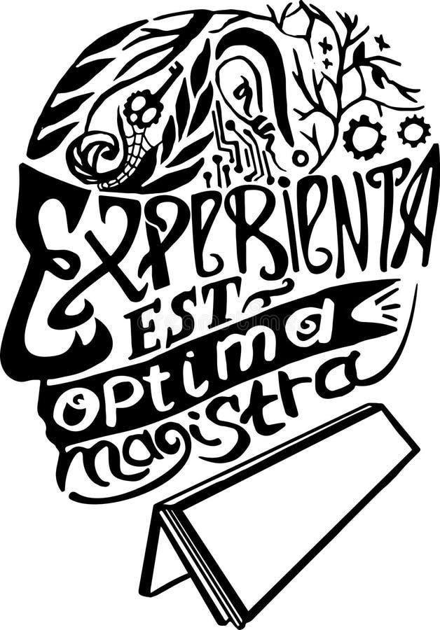 Erfahrung ist der beste Lehrer lateinisch Abstraktionsphrasen, apho lizenzfreie abbildung