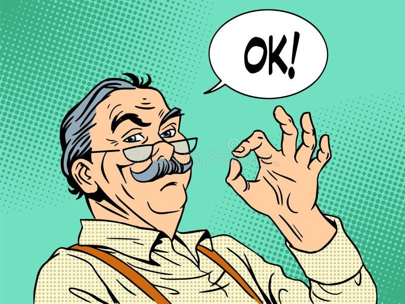 Erfarenhet för godkännande för gamal man för morfargestgodkännande royaltyfri illustrationer