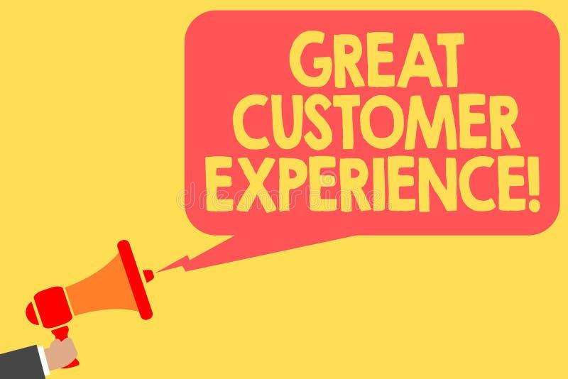 Erfarenhet för kund för handskrifttext stor Begreppsbetydelse som reagerar till klienter med den hållande megafonen för vänlig hj stock illustrationer