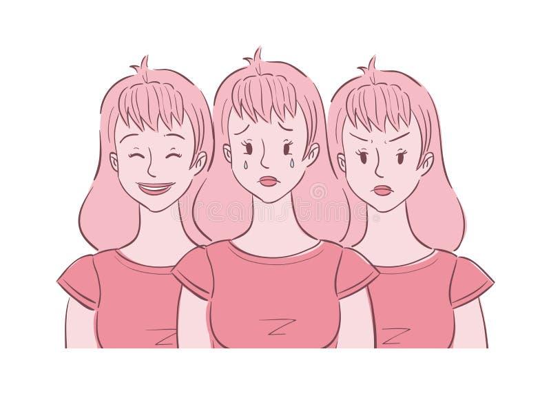 Erfarna lynnegungor för ung kvinna royaltyfri illustrationer