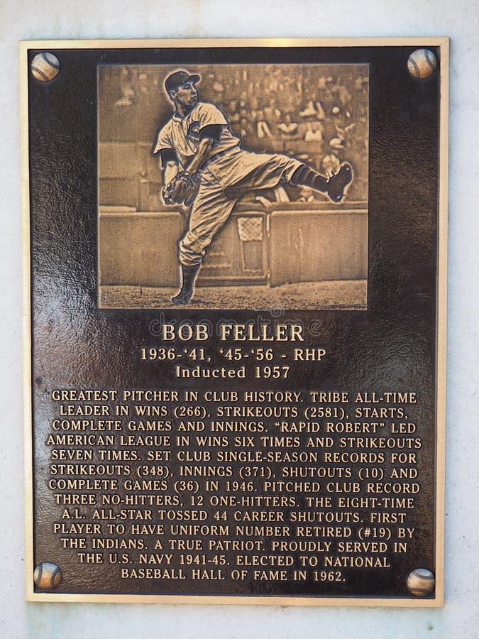 Erfenispark - 19 Bob Feller - Progressief Gebied - de Vlag van Cleveland - van Ohio - de V.S. stock afbeeldingen