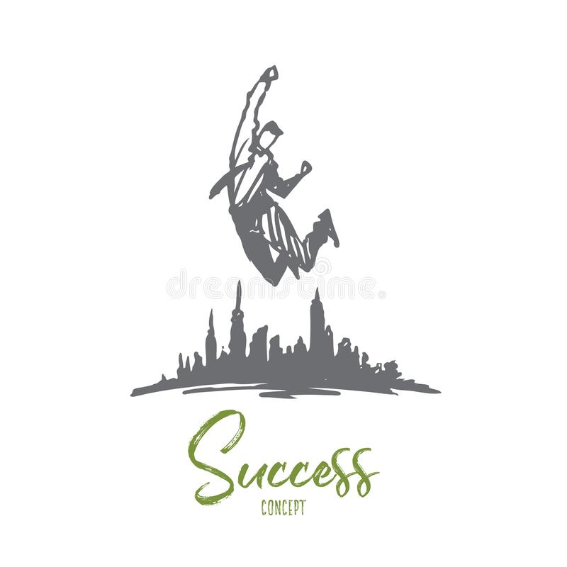 Erfolg, Führung, Geschäftsmann, Ziel, Herausforderungskonzept Hand gezeichneter lokalisierter Vektor stock abbildung