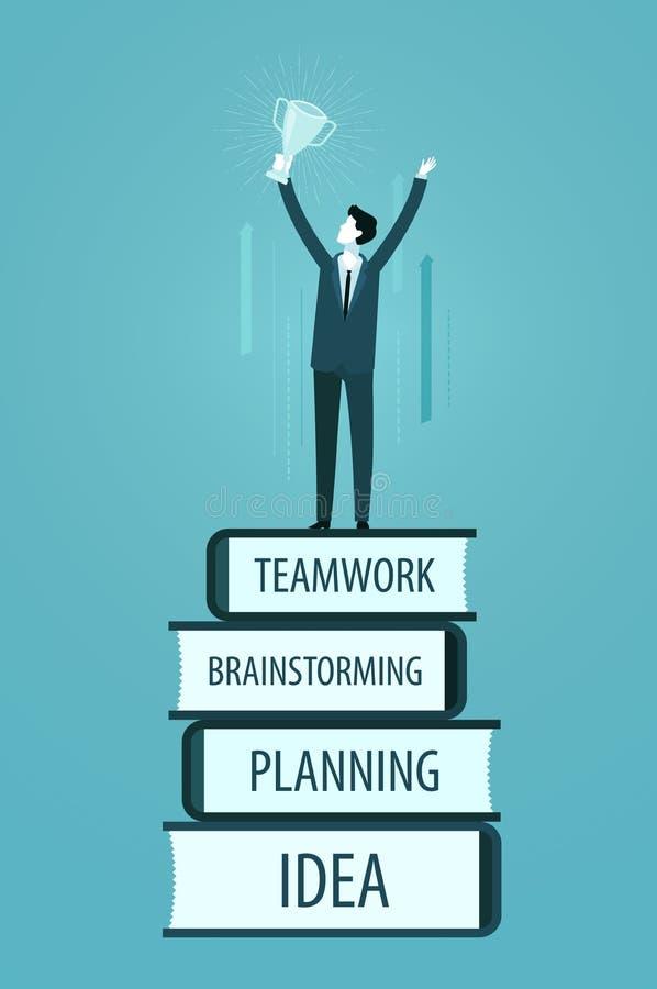 Erfolg im Geschäft Gewinnen, Leistungskonzept Infographics-Vektorillustration stock abbildung